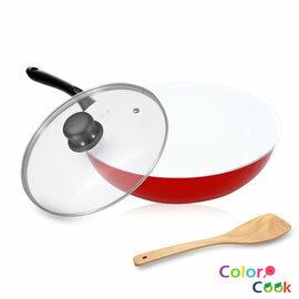 《固鋼》Color Cook 白陶瓷不沾炒鍋30cm(附玻璃鍋蓋+鍋鏟) 不沾鍋 不沾炒菜鍋 陶瓷鍋 煎鍋 耐磨無毒
