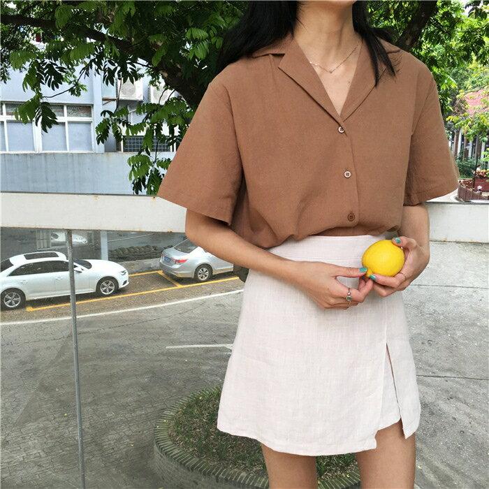 棉麻襯衫 春夏季韓版設計感小眾襯衫女復古港味寬鬆百搭短袖棉麻上衣