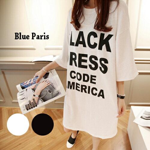 T恤 韓版圓領寬鬆印花長版上衣 連衣裙 短洋裝【28007】藍色巴黎《S~L》現貨+預購