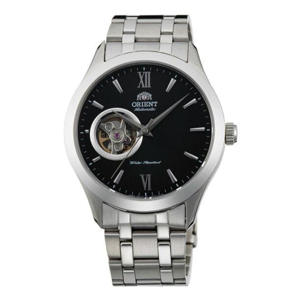 ORIENT東方錶SEMI-SKELETON系列(FAG03001B)藍寶石鏤空機械錶鋼帶款黑色38.5mm