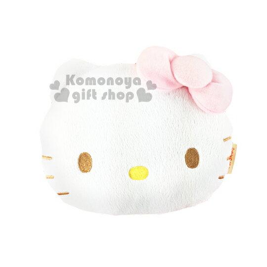 〔小禮堂〕Hello Kitty 兒童造型絨毛後背包《白.大臉.粉蝴蝶結》冬日聖誕限定系列