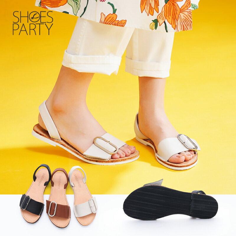 【S2-17625L】西班牙風橢圓釦皮底涼鞋_Shoes Party 0