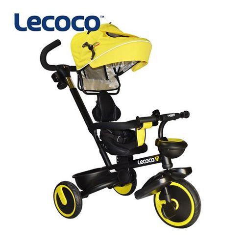 Lecoco黑爵士五合一可折疊兒童三輪推車-黑黃★衛立兒生活館★