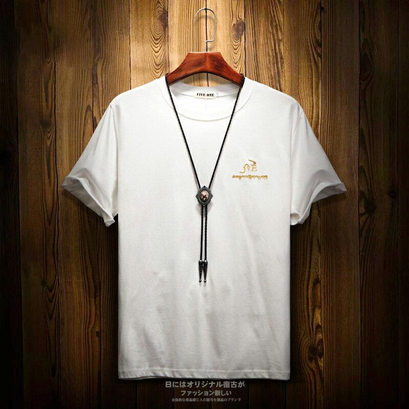 男士夏季短袖2019新款圓領刺繡T桖日系街頭男裝上衣打底衫 0