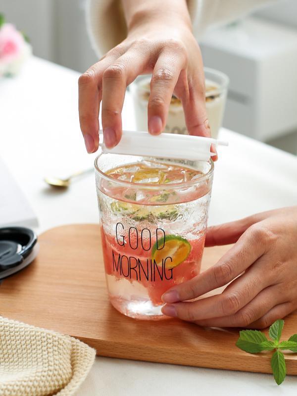 創意玻璃杯ins風杯子水杯啤酒杯飲料果汁杯goodmorning牛奶早餐杯1入