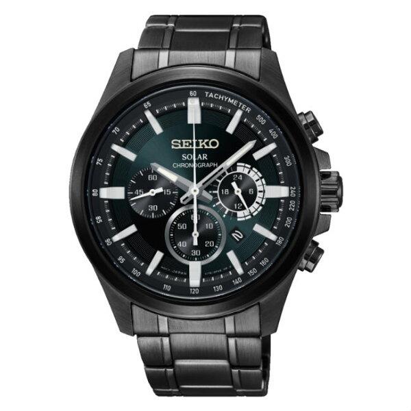 Seiko精工錶criteriaV175-0ER0M(SSC691P1)經典三環太陽能計時腕錶黑面43mm