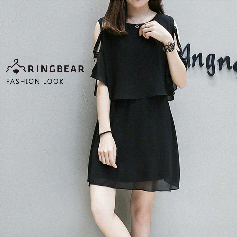 氣質洋裝--優雅假兩件雪紡披肩性感綁帶挖空式收腰無袖連身裙(黑XL-3L)-D421眼圈熊中大尺碼 0