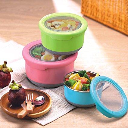 TEDEMEL圓形防滑不鏽鋼保鮮盒/水果盒/飯盒/餐盒/兒童碗 730ml