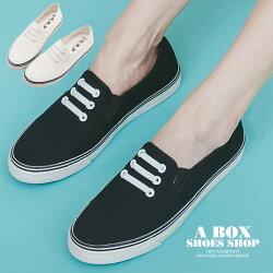 【KB056】基本款經典布面鞋 懶人鞋 小白鞋 方便套腳 棉質帆布材質 MIT台灣製 2色