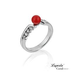 大東山珠寶 珠光寶氣 全紅珊瑚純銀戒指