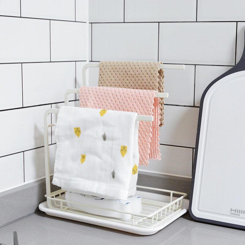 SwanLace好物 廚房整理鐵藝瀝水洗碗刷海綿毛巾掛架抹布架置物架