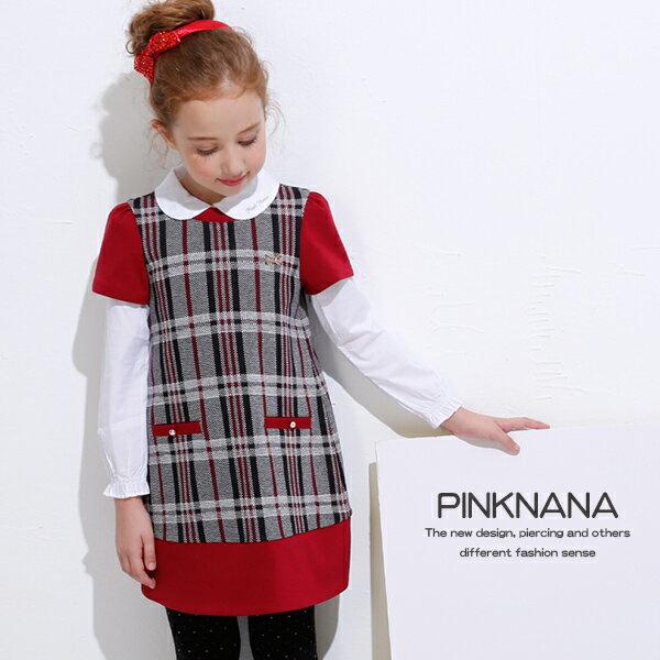 Pink Nana:PINKNANA童裝女童秋冬黑白格紋短袖洋裝32123