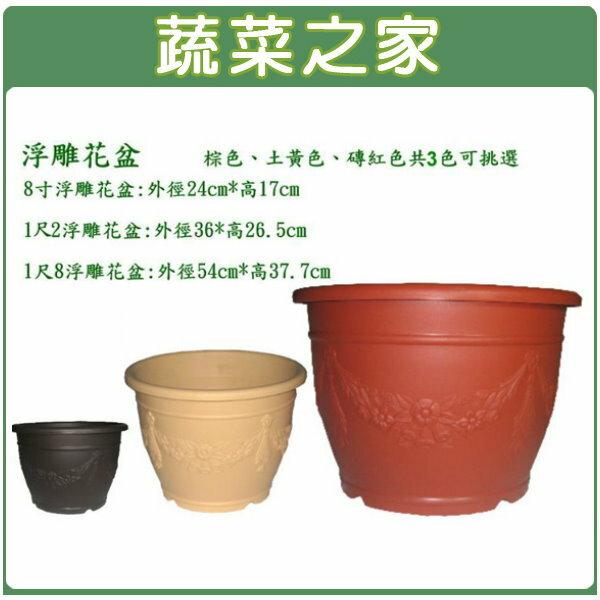 【蔬菜之家005-D102】忠興8吋浮雕花盆鵝黃色、磚紅色、棕色共3色