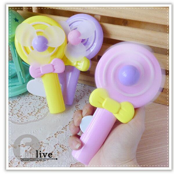 【aife life】棒棒糖手壓風扇/造型風扇/省力手壓迷你風扇/環保手動風扇/安全軟葉風扇/手搖扇