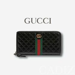 義大利正品 GUCCI Leather zip around wallet 黑色菱格紋皮革拉鍊長夾 536450