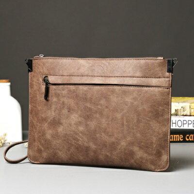 手拿包純色肩背包-復古簡約商務文件男包包2色73sd46【獨家進口】【米蘭精品】