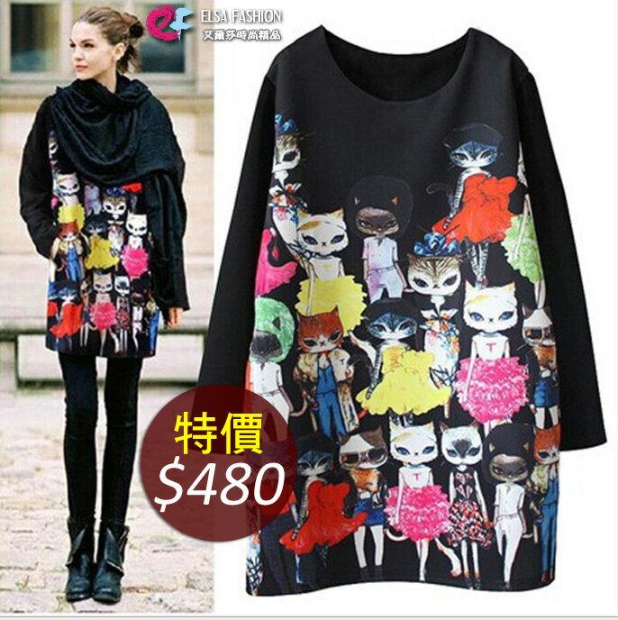 長版上衣長袖T恤 性感貓咪印花蝙蝠袖連身裙上衣 艾爾莎【TAK2346】 0