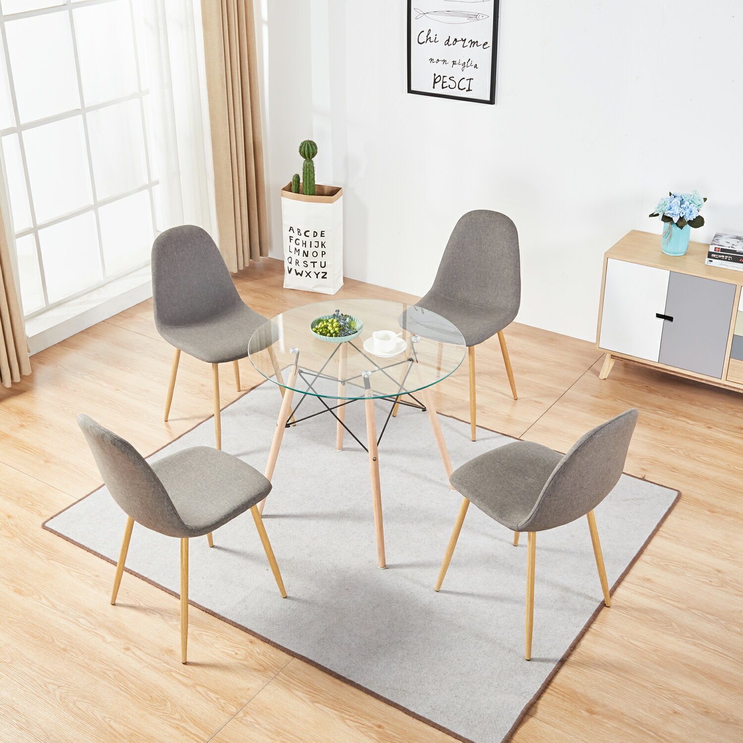 Mcombo Mcombo Dining Side Chairs Set Of 4 Dining Table Round Clear Glass Table For Kitchen Dining Room Rakuten Com