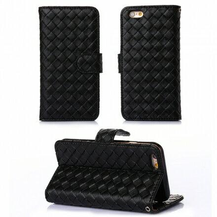Apple iPhone 6 / 6s 時尚編織紋手機皮套 側掀磁扣支架式皮套 矽膠軟殼 多色可選 5