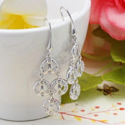 ~925純銀耳環鑲鑽耳飾~繽紛耀眼高貴典雅生日情人節 女飾品2色73dm159~ ~~米蘭