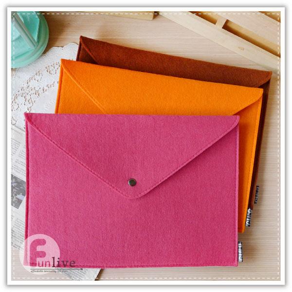 【aife life】A4不織布文件袋/信封式 羊毛氈 文件夾/收納袋/有釦文件袋/夾鏈袋/資料夾/收納包/手拿包