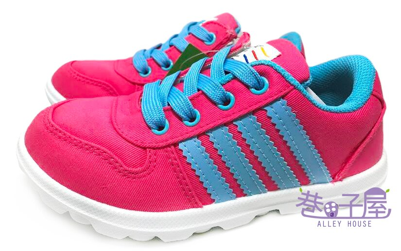 【巷子屋】女童側拉鍊款帆布運動休閒鞋 [1574] 粉 MIT台灣製造 超值價$198