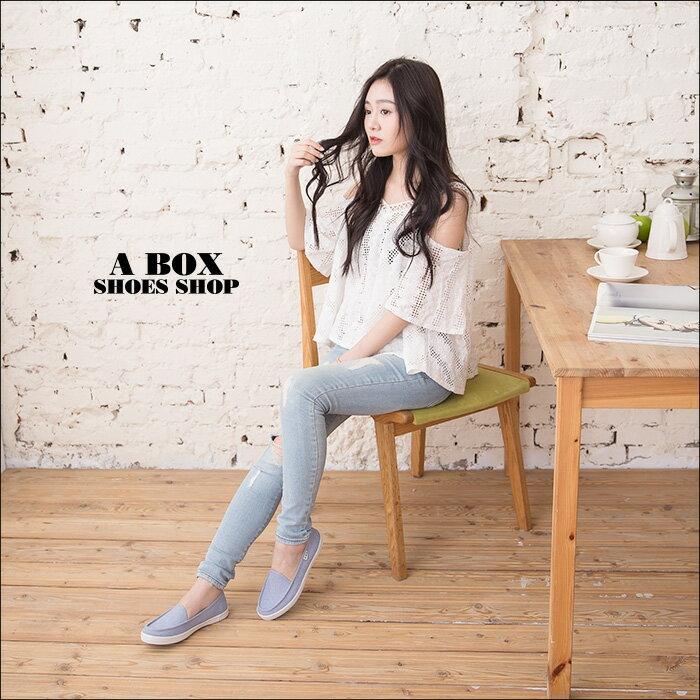 格子舖*【KBC639】MIT台灣製 簡約經典帆船造型 舒適牛仔布面/帆布鞋 懶人鞋 2色 1