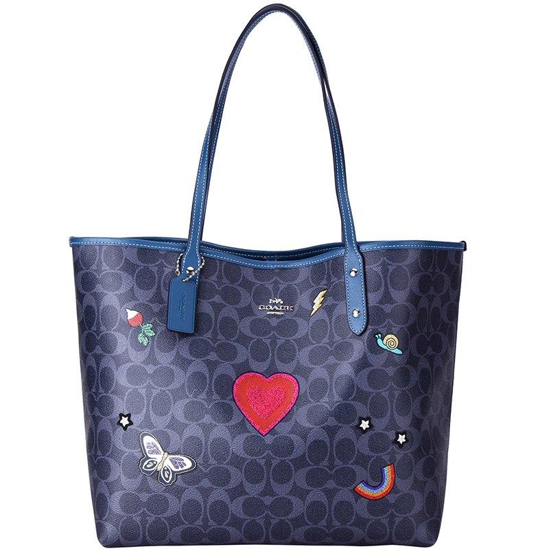 (Smile) COACH F24592 女士女包藍色印花PVC手提單肩托特包購物袋