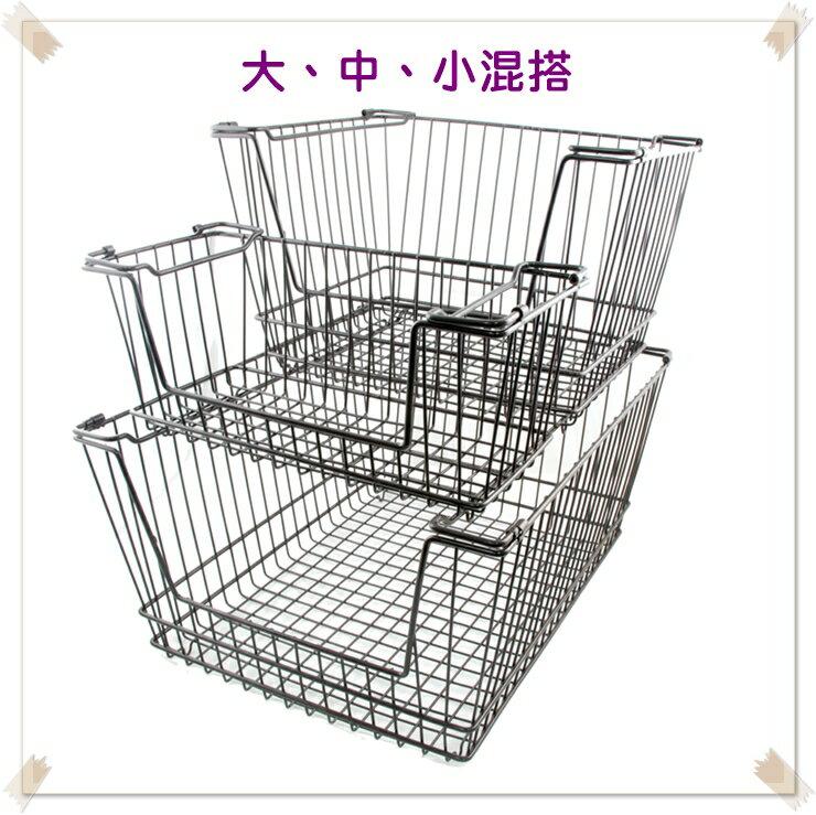 【凱樂絲】媽咪好幫手堆疊鐵線收納籃  一組三入促銷價899 - 自由DIY 空間利用 透氣通風, 客廳, 廚房, 衣櫃適用 3