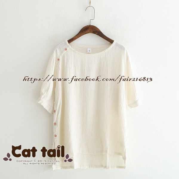 《貓尾巴》LZ-03233簡約文藝雙色鈕扣短袖上衣(森林系日系棉麻文青清新)
