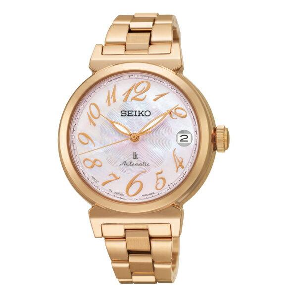 Seiko Lukia 4R35-00J0P(SRP870J1)林依晨廣告款粉麗玫瑰金機械腕錶/粉貝面34.6mm