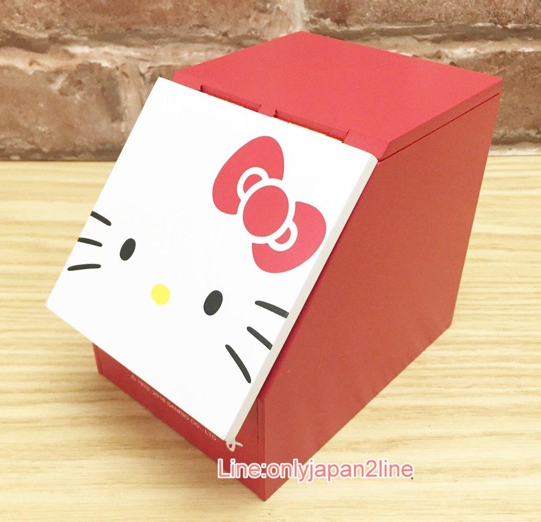【真愛日本】17033000001 掀蓋收納盒-KT大臉紅 三麗鷗 Kitty 凱蒂貓 木頭 木製 置物櫃 置物盒
