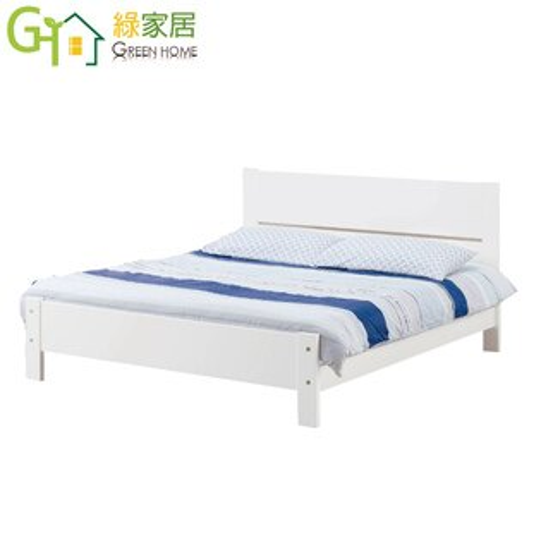 【綠家居】布爾時尚白5尺實木雙人床台(不含床墊)