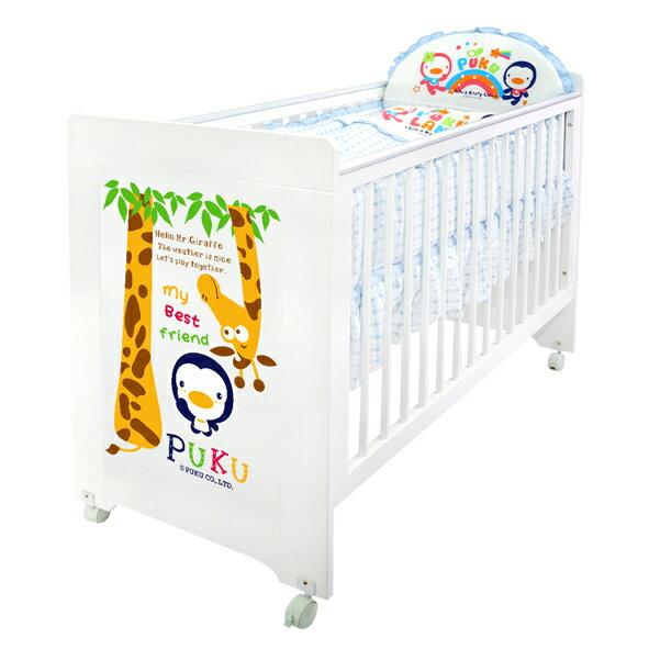 『121婦嬰用館』PUKU Giraffe長頸鹿多功能床-白色 + 七件式寢具組 0
