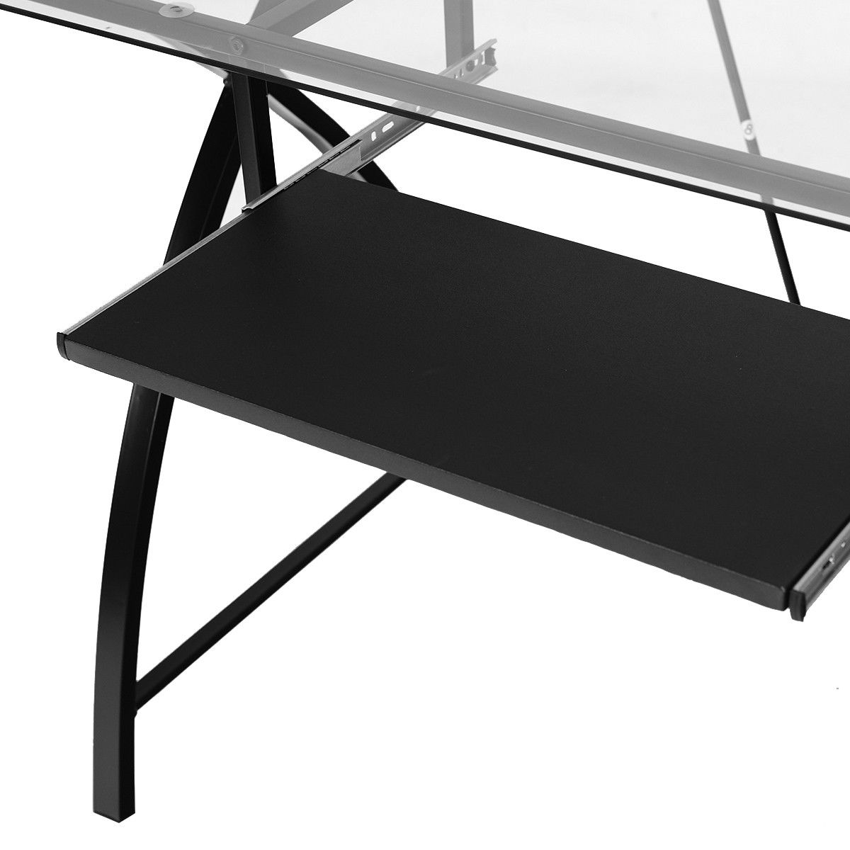 Costway: Costway Clear Glass Top Computer Desk W/ Pull-Out
