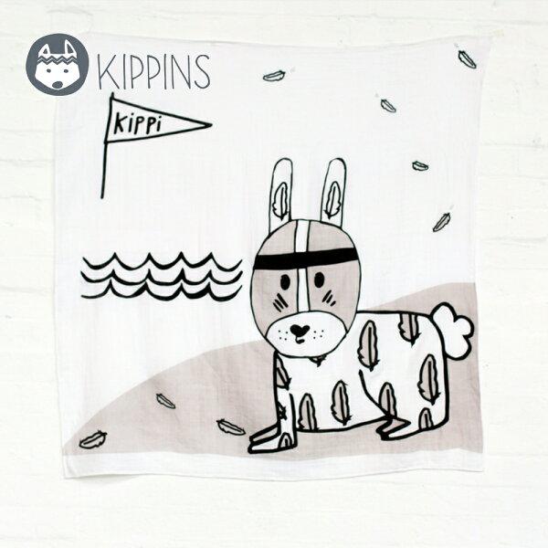 YODEE 優迪嚴選:Kippins澳洲有機棉包巾動物造型包巾–羽毛小兔子RIVERKIPPINTALE