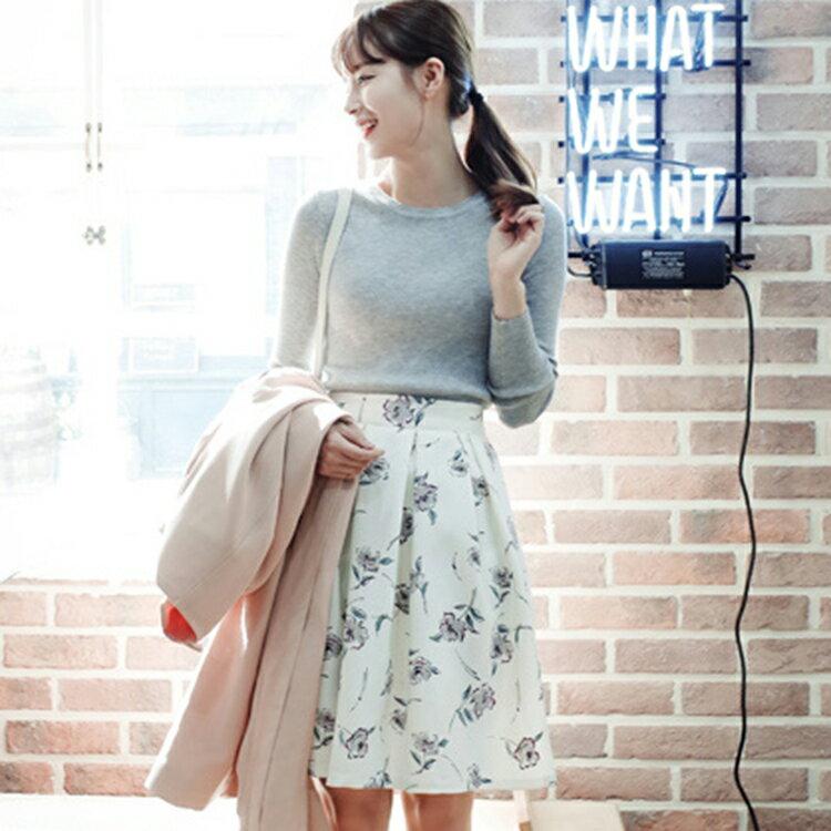 【正韓1折up,即將完售!】CHERRYKOKO 優雅抓皺花朵裙 象牙白 careful skirt-