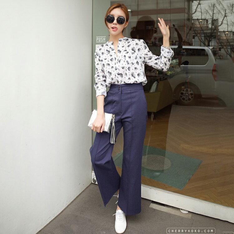 CHERRYKOKO 素面打摺休閒寬版西裝褲 藏青色 trendily pants-