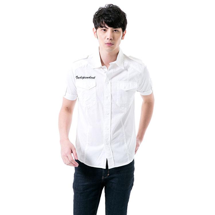 IBS 軍裝風素面襯衫 白