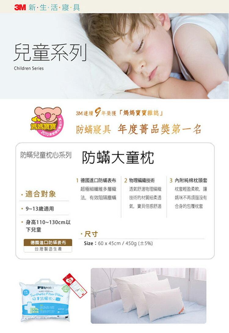 3M 淨呼吸大童防蹣枕心-附純棉枕套-9-13歲適用(超值2入組) - 1