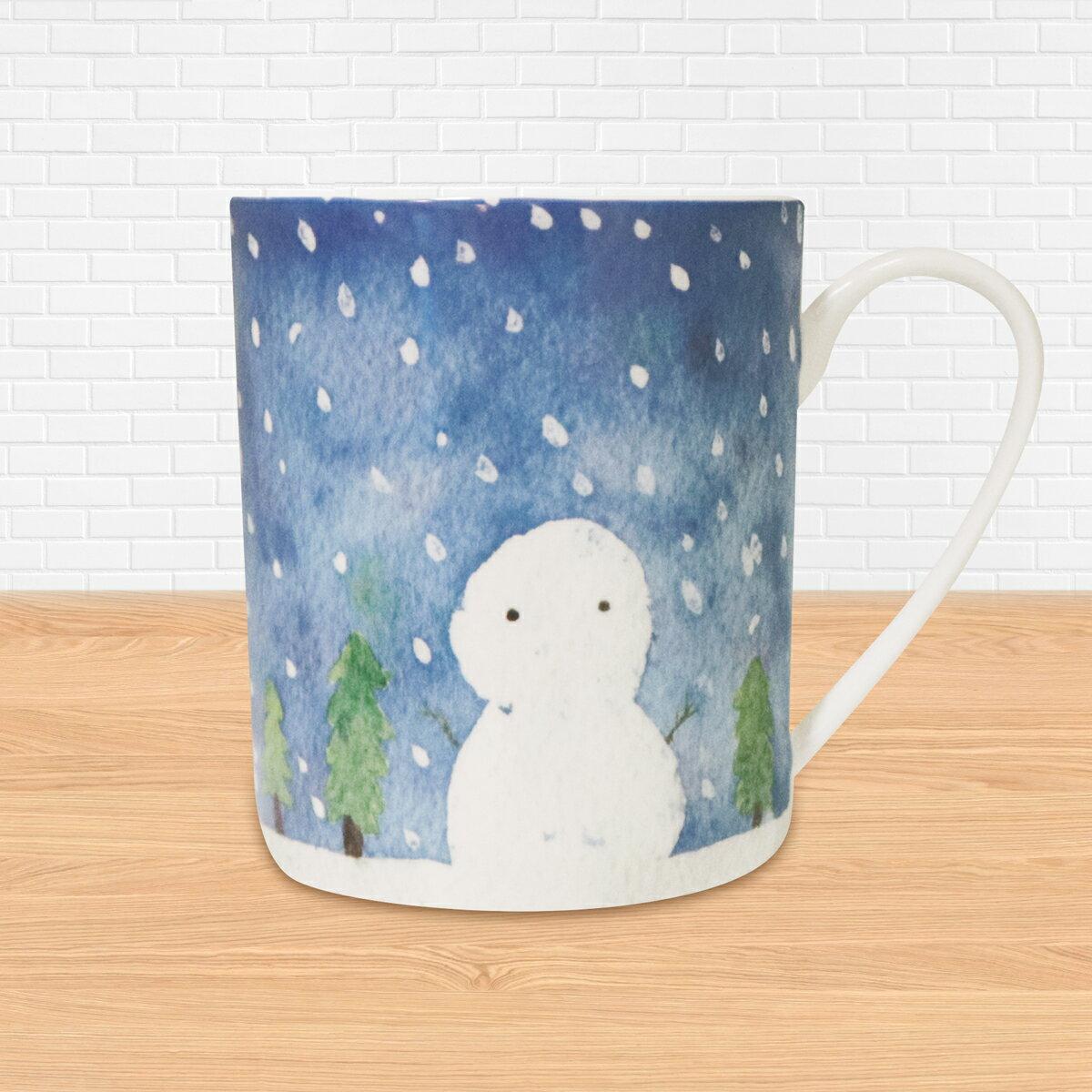 《陶緣彩瓷》水彩手繪雪人-骨瓷馬克杯 / 手繪 / 雪人 / 聖誕節 / 交換禮物 / 可加購客製名字 / 可微波 / 通過SGS