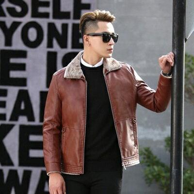 皮衣夾克外套-冬季毛領純色休閒男夾克2色73pn16【獨家進口】【米蘭精品】 1