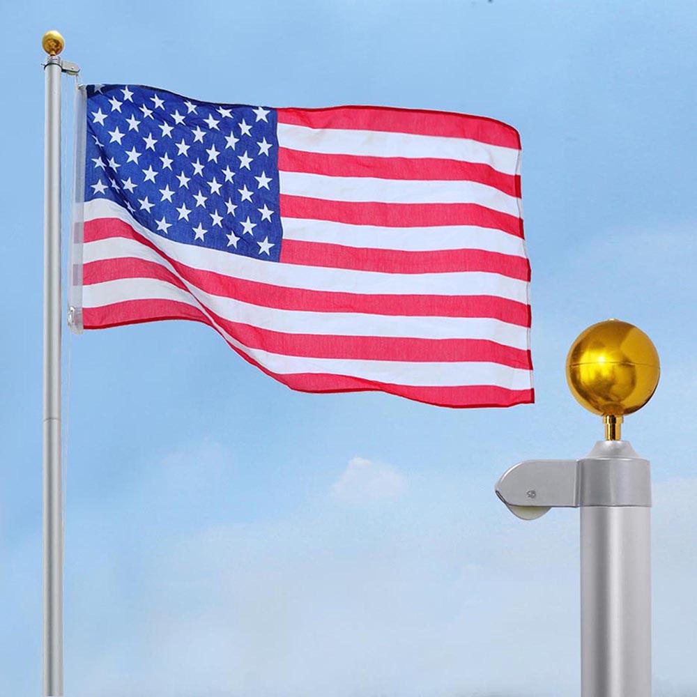 YesHom™ 20ft Sectional Aluminum Flagpole Kit Free US American Flag Outdoor  Halyard Pole