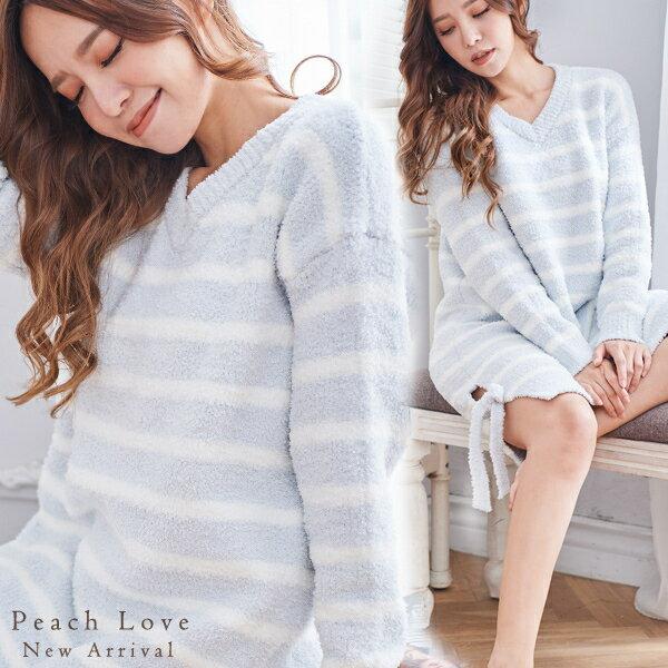 秋冬睡衣 高科技毛線簡約條紋睡衣-睡裙(兩色:白底藍條、藍底白條)-保暖、居家服_蜜桃洋房 0