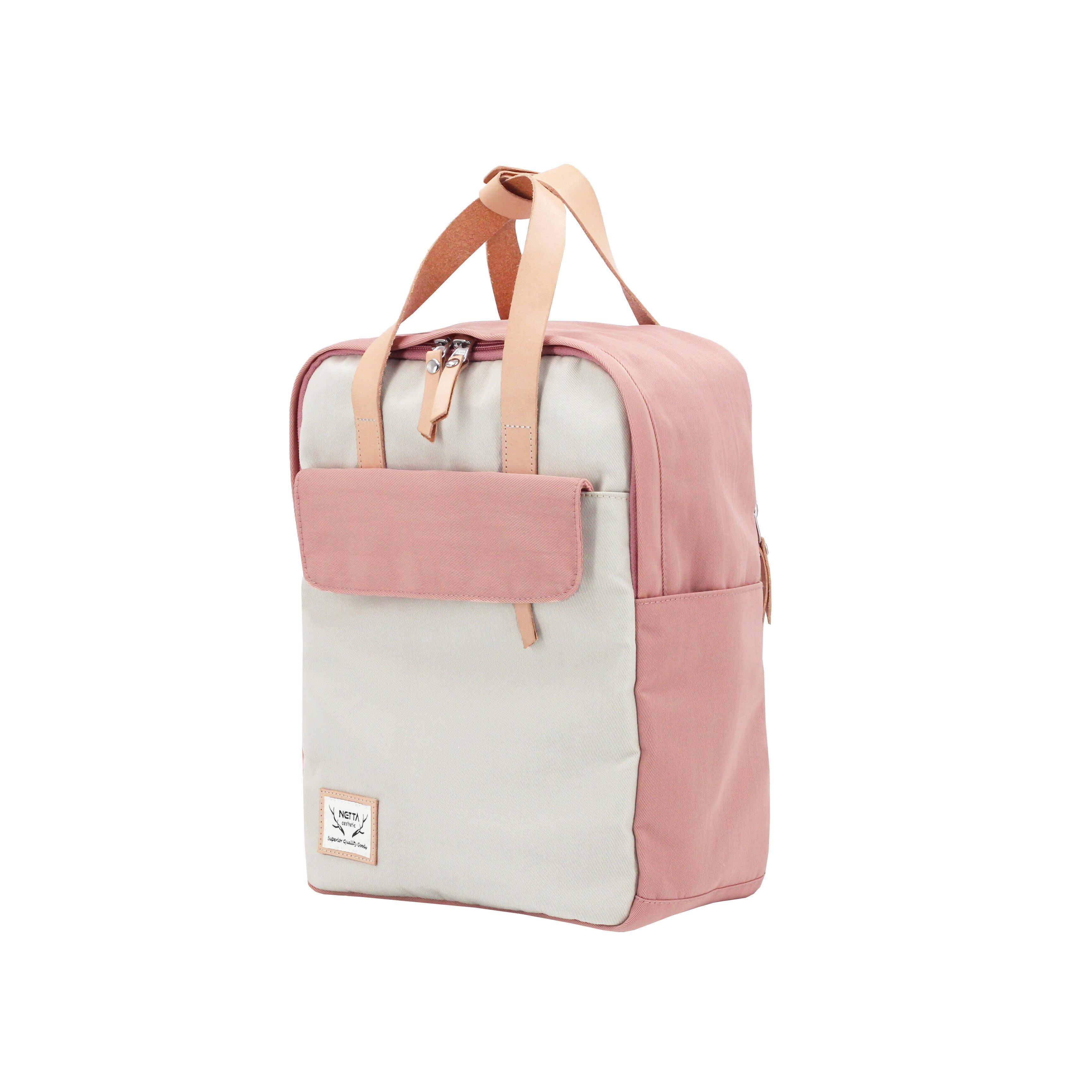防潑水後背包 / 野餐系列 / 粉紅x米白 / 尺寸S號【NETTA】 1