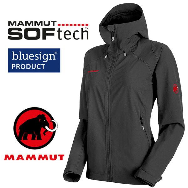 【Mammut長毛象瑞士】RunboldTrail連帽軟殼外套軟殼衣運動夾克防風保暖女款黑色(1011-23011)