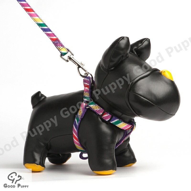 【Good Puppy】3分尼龍緞帶胸背帶+拉帶~多種顏色圖案~貓狗通用