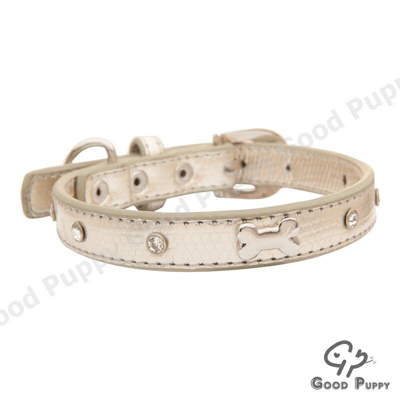 ~Good Puppy~奧地利水鑽仿蛇皮狗骨頭吊飾項圈~銀色大水鑽