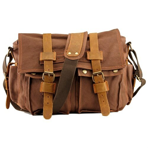 29ee548915 Men s Vintage Canvas and Leather Satchel School Military Shoulder Bag  Messenger - Coffee 0