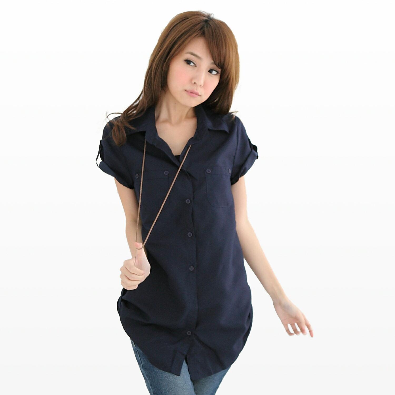 長版襯衫--優雅迷人抓皺雙口袋長版造型襯衫(粉.藍S-2L)-H99眼圈熊中大尺碼 1